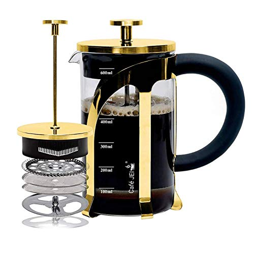 Cafe JEI French Press Coffee and Tea Maker 600ml with 4 Level Filtration System, Stainless Steel,...