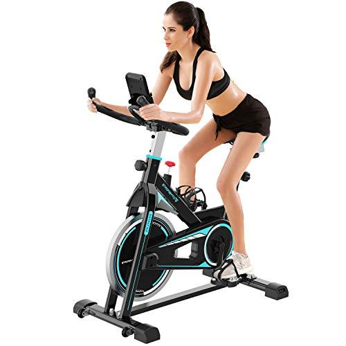 2WD Bicicletas Estáticas, BicicletasSpinning, Avanzada con Pantalla LCD, 5 Niveles de Resistencia Ajustables, con sensores de Pulso de Mano