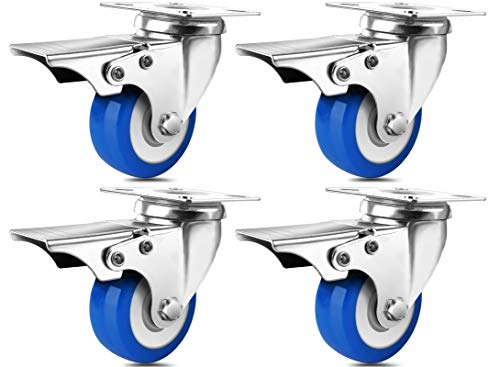SPACECARE 2 Inches Caster Wheels, Heavy Duty Locking Casters with Brake Set of 4, 800Lbs with 360 Degree No Noise Swivel Plate Castors