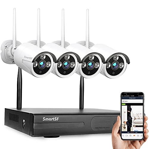 Kit de cámaras de vigilancia Wifi Kit de sistemas de vigilancia inalámbricos, 1080P 8CH NVR, 1MP Cámaras IP Bullet para exteriores resistentes a la intemperie, Visión nocturna, Alerta por correo electrónico, Acceso remoto, SIN HDD