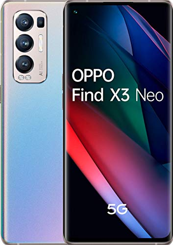 OPPO Find X3 Neo 5G - Pantalla 6,55 (OLED 90 Hz, 12+256 GB, Snapdragon 865, Batería 4500 mAh, Cuádruple cámara 50 + 16 + 13 + 2, carga rápida 65W) Plata [Versión ES/PT]