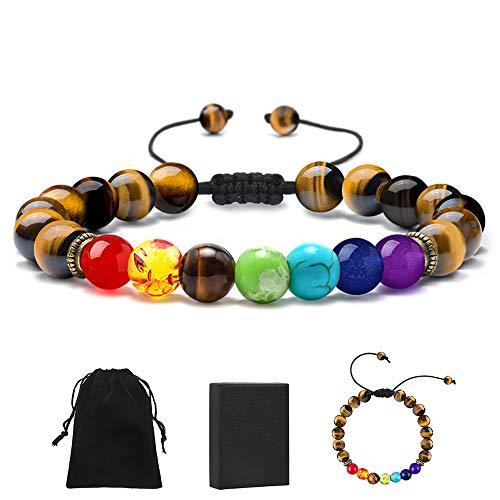 MONOZO Chakra Beads Bracelet - 7 Chakra 8mm Natural Tiger...