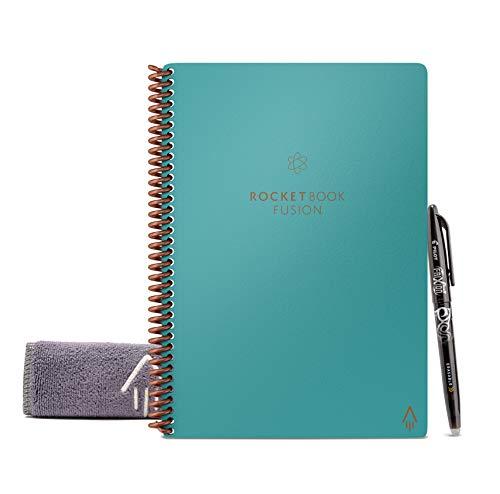 Rocketbook Fusion - Cuaderno de notas reutilizable e inteligente - Verde Azulado, Hoja A5, 7 estilos de páginas para maximizar la productividad, bolígrafo FriXion y toallita incluidas