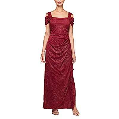 Cocktail dress, special occasion dress, mother of the bride dress, ball gown Long cold shoulder dress with ruched skirt