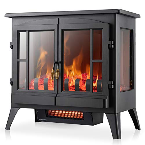 Xbeauty Electric Fireplace Stove, Freestanding Fireplace Heater with...