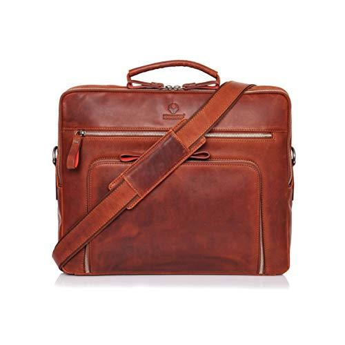 DONBOLSO® Laptoptasche San Francisco 15,6 Zoll Leder I Umhängetasche für Laptop I Aktentasche für Notebook I Tasche für Damen und Herren (Rotbraun)