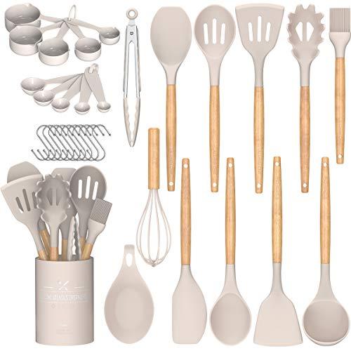 Umite Chef Kitchen Cooking Utensils Set, 24 pcs Non-stick Silicone Cooking Kitchen Utensils Spatula Set with...