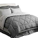 Bedsure Bed in a Bag 8 Pieces Queen Size, Dark Grey/Light Grey - Soft Microfiber, Reversible Bed Comforter Set (1 Comforter, 2 Pillow Shams, 1 Flat Sheet, 1 Fitted Sheet, 1 Bed Skirt, 2 Pillowcases)