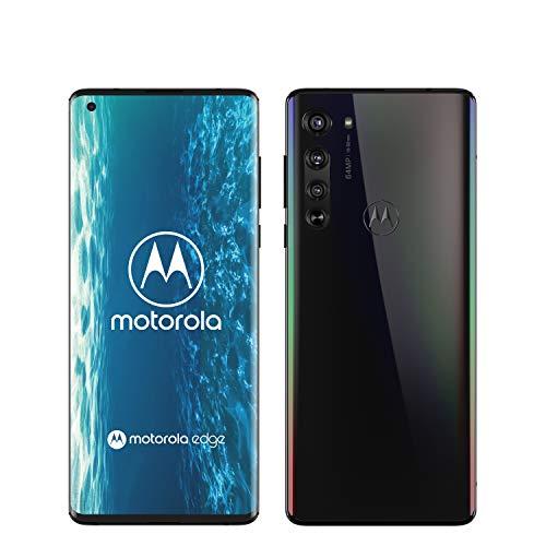 """Motorola Edge Smartphone débloqué 5G (Ecran 6.7"""" FHD+ incurve 90°, processeur Qualcomm Snapdragon SM7250, caméra Principale 64MP, Batterie 4500 mAH, Dual SIM, 6/128GB, Android 10), Noir Solaire"""