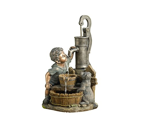 Dehner Gartenbrunnen Junge mit LED Beleuchtung, Steinoptik, ca. 68.5 x 37 x 39 cm, 8 kg, Polyresin, grau/braun