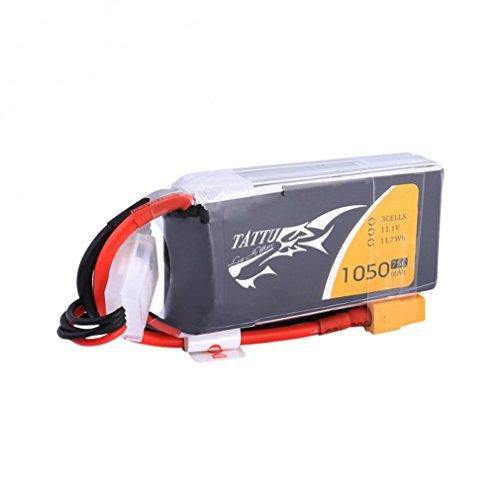 Tattu Batteria LiPo 1050mAh 11.1V 75C 3S Batteria di Ricambio con Connettore XT60 per Elicottero Aereo FPV quadcopter Drone Nero Ricambi