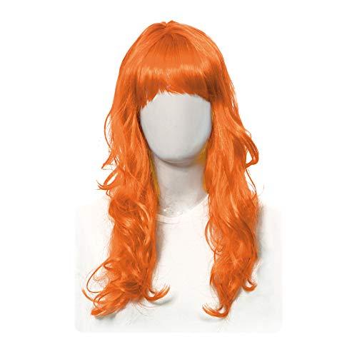 Acessorio peruca longa laranja c/1 un