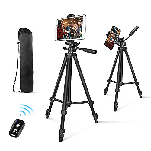 Phone Tripod, Aureday 50 Extendable Adjustable Smartphone & Tablet Tripod Stand with Phone Holder Mount & Remote, Compatible with Tablet/Cell Phone/Camera