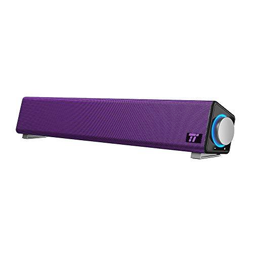 TaoTronics Computer Speakers, Wired Computer Sound Bar, Stereo USB Powered Mini Soundbar Speaker for PC Tablets Desktop Cellphone Laptop(Purple)