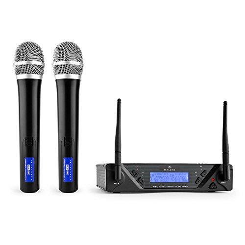 Malone UHF-450 Duo 1-2-Kanal UHF-Funkmikrofon Set, Funk-Mikrofon System, 2 x kabellos Handmikrofon, Frequenzband: 823-832 MHz pro Kanal, LED, lange Betriebszeiten, LCD-Display, schwarz