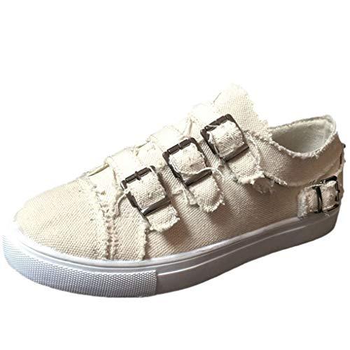 Dorical Unisex Damen Herren Canvas Sneaker Low Übergrößen mit Metallschnalle,Slip-on Roundtip Flache Vintage Schuhe aus Gummi Größe 35-43 Reduziert(Beige,42 EU)