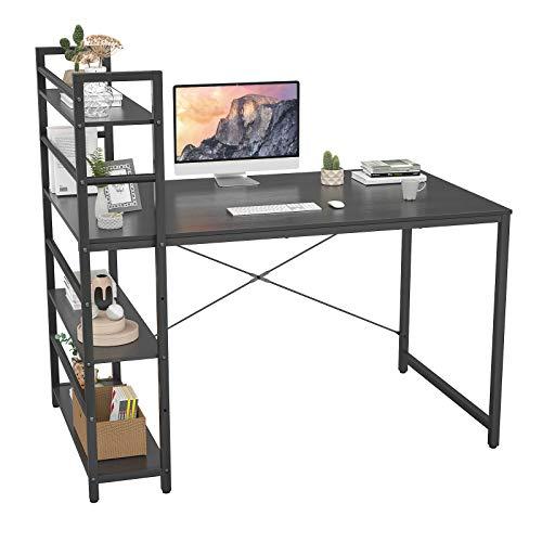 Homfio Computer Desk with Shelves, 47 inch Modern Writing Study Desk with Storage Shelf, Study Table Work Desk for Small Space Desk with Shelf Office Bookshelf Corner Desk Easy Assemble, Black