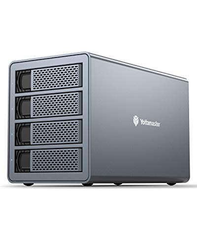 Yottamaster 4 Bay RAID External Hard Drive Enclosure 2.5' 3.5' USB3.0 to SATA HDD SSD Enclosure,Support 64TB & RAID 0/1/5/10/JBOD RAID Mode Hard Drive RAID Storage for Video Editing Photo Backup