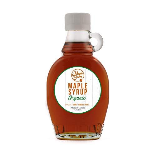 MapleFarm - Puro sciroppo d'acero Canadese BIO Grado A (Dark, Robust taste) - 189 ml (250 g) -...