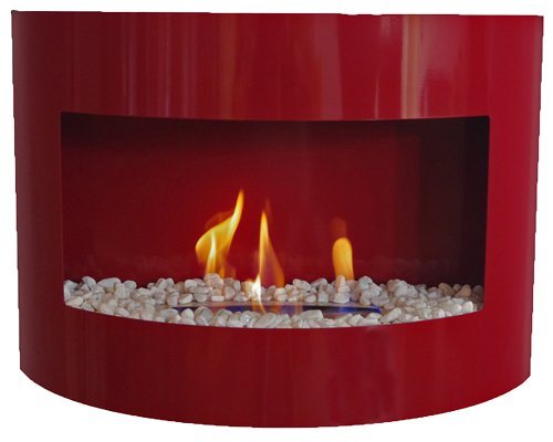Bio Ethanol Fireplace RIVIERA DELUXE Wall Fire Place + Stainless Steel Burner + decorative stones (Red)