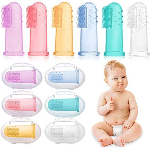 HBselect 6 pezzi di Spazzolino Bambini da Dito Multicolore con Scatola Spazzolino Denti in Silicone Sicuro e Morbido Pulizia Denti Neonati