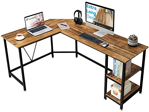 GreenForest L Shaped Corner Desk 65.7 inch with Storage Shelf Long...
