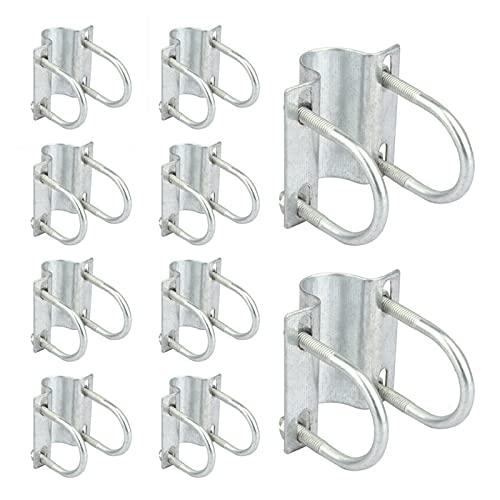 Abrazaderas de soporte de correa para invernadero, conectores cruzados, ajustables en forma de U, para tubería de 1 x 1 ¼, para invernadero, cerdo, oveja, cobertizo de vaca, 10 unidades
