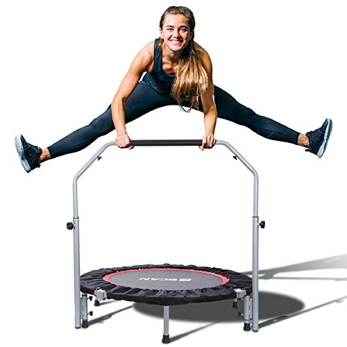 BCAN 40' Foldable Mini Trampoline, Fitness Rebounder with Adjustable Foam Handle, Exercise Trampoline for Kids Adults Indoor/Garden Workout Max Load 330lbs