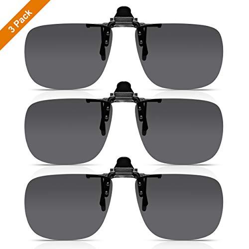 Read Optics 3-PACK Clip-On Sunglasses: Lenti Polarizzate Flip-Up per Occhiali da Lettura-Vista da Uomo/Donna, Senza Bordi, in Grigio Fumo, in Resistente Policarbonato. 100% Protezione UV-400