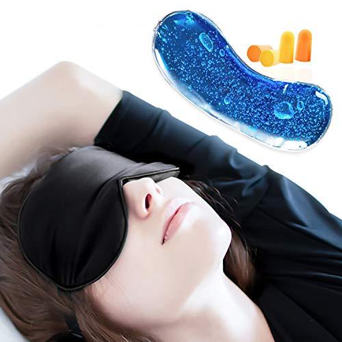 Masque de Sommeil, Masque de Nuit Masque des Yeux 100% Soie avec Lanière...