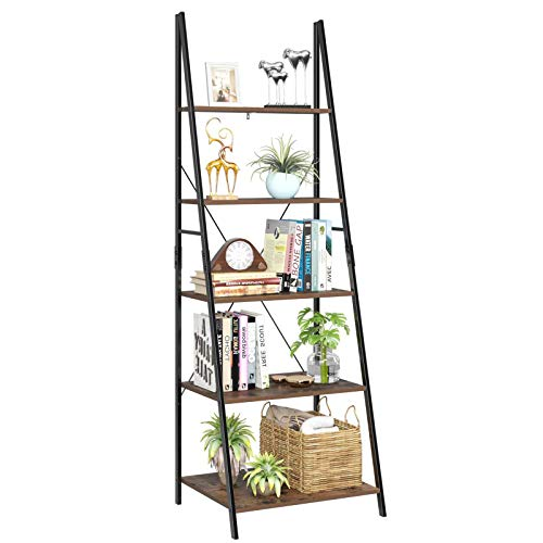 HOMFA Ladder Shelf, 5 Tier Vintage Bookcase, Multifunctional Bookshelf Plant Flower Stand Storage Rack Shelves,...