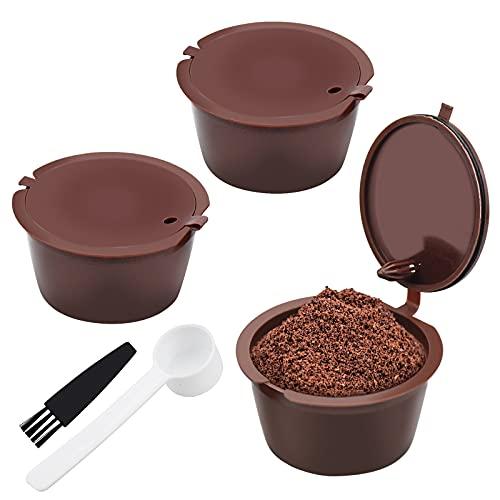 Winfred 3 Pezzi Capsule Caffè Riutilizzabili, Cialde Caffè Ricaricabili con 1 Spazzola per la Pulizia e 1 Cucchiaio di Plastica, Compatibili con Dolce Gusto Caffè Macchina