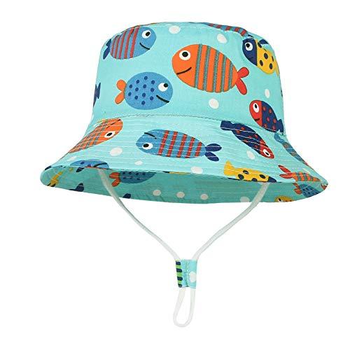 GEMVIE Cappello da Sole Neonato Bucket Hat Anti-UV Cappello Pescatore Bambino Bambina Estivo Protezione Solare per Spiaggia Vacanza Viaggio Outdoor (Azzurro, 6-12 Mesi)