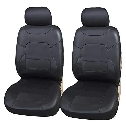 Upgrade4cars Coprisedili Anteriori Auto Universali Eco-Pelle Nero Set Copri-Sedile Universale per Guidatore e Passeggero con Airbag Laterali Accessori Auto Interno
