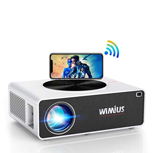 "WiFi Beamer, WiMiUS 7000 Lumen 1080P Full HD Beamer Unterstützung 4K LED Heimkino Videobeamer 300"" Display Kompatibel mit Fire Stick, PS4, X Box, iOS / Android Smartphone Projektor (Weiß)"
