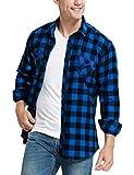 JEETOO Homme Chemise à Carreaux Manche Longue Casual Slim Fit en Flanelle (Bleu Noir, Large)