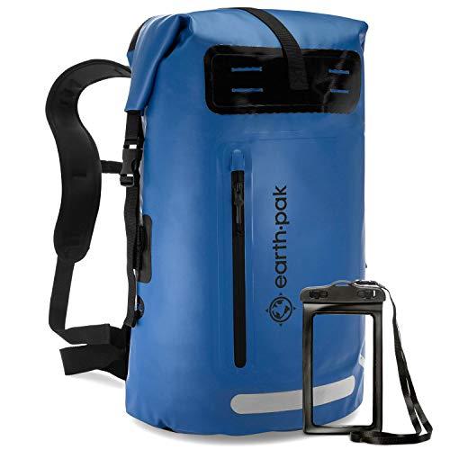 Earth Pak 防水バックパック:ヘビーデューティロールトップクロージャーで簡単にアクセスできますフロントジッパー式ポケットとクッションパッド付きバックパネルを快適に使用できます。 IPX8防水電話ケース付属 35L 青
