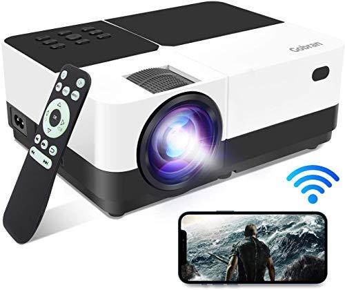 Vidéoprojecteur WiFi Supporte 1080P Full HD 6000 Lumens Rétroprojecteur Screen Mirroring , Gobran Miroir de l'écran Audio Projecteur Home Cinéma Présentation PPT,Compatible avec HDMI/USB/SD/AV/VGA