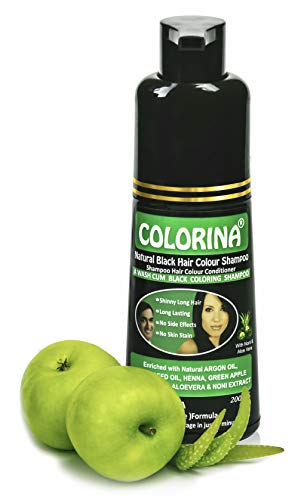Colorina Hair Color Shampoo 200 ml (Natural Black) | No Skin Stain, No Ammonia, No Parabens | Instant Black Hair in Just 5 Minutes | Enriched with Green Apple Extract, Noni Extract, Vit-E, Argan Oil, Black Seed Oil, Henna, Aloevera