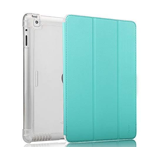 Valkit iPad 2 3 4 Case (Old Model) – Smart Slim Stand Translucent Frosted Back Smart Cover for Apple iPad 2 / iPad 3 / iPad 4 with Auto Wake/Sleep, Mint Green