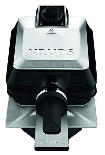 Krups Gaufrier rotatif Noir et Inox, 1200 W, Système rotatif professionnel, Position verticale, Gaufres Dorées, Plaques amovibles et antiadhésives FDD95D10