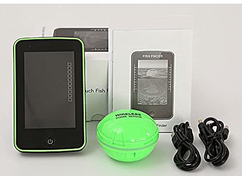 YONIISEA Fish Finder Portatile, Ecoscandaglio da Pesca con Display LCD Sensore Sonar Wireless, Outlife 500m Distanza Range Lake Rilevamento Accurato Buone Prestazioni per Marittima sul Lago,Verde