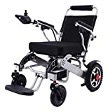 New Model 2020 Fold & Travel Lightweight Motorized Electric Power Wheelchair Scooter, Aviation Travel Safe Electric Wheelchair Scooter Heavy Duty Power Wheelchair, (19 Inch Seat Silver)