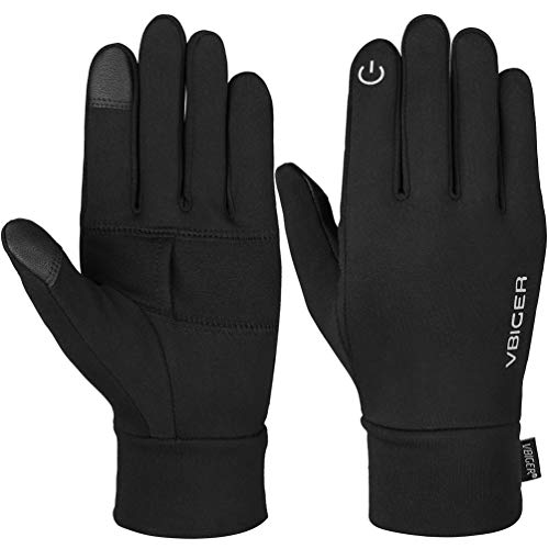 VBIGER Unisex Running Gloves Touch Screen Anti-slip Sports Gloves Winter Gloves for Running Driving Hiking Cycling(S, Black)