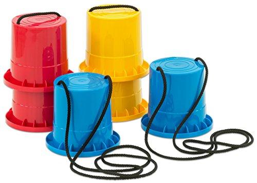 Betzold Sport 33329 - Topfstelzen 3 Paar Robust Kunststoff - Laufstelzen Kinder-Stelzen Dosenstelzen Becherstelzen Für Draußen Partyspiel Spiele Kindergeburtstag