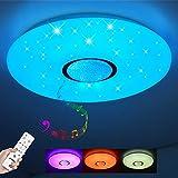 Lámpara LED de Techo Regulable con Altavoz Bluetooth, Mando a Distancia , 24W RGB Cambio de Color para Baño, Domitorios Juveniles, Salón, Lámpara de Techo Impermeable IP44