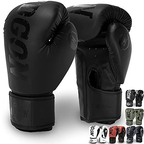MADGON Guantes de Boxeo Hechos del Mejor Material para Larga Durabilidad – Guantes de Kick Boxing, Guantes de Artes Marciales, Guantes MMA y Sparring - Óptima Absorción de Impactos – Bolsa Inclu