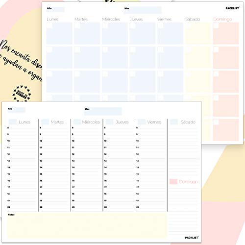 PACKLIST Planificador Semanal + Planificador Mensual. Pack de 2 planners Organizador Semanal + Mensual A4, Planning de Escritorio. Agendas, Planificadores y Calendarios Mes/Semana de Diseño Exclusivo