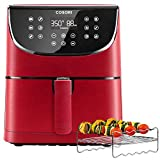 COSORI Air Fryer(100 Recipes, Rack & 5 Skewers),5.8QT Electric Hot Air Fryers Oven Oilless Cooker,11 Presets,Preheat& Shake Reminder, LED Touch Digital Screen,Nonstick Basket,1700W,Red