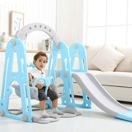 Toddler Mountaineering and Swing Set, 4 in 1 Climber Slide Playset with/Basketball Hoop, Throw, Easy Climb Stairs, Kids Playset for Both Garden & Backyard, Indoor Outdoor Playground Toy